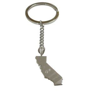California State Map Shape and Flag Keychain
